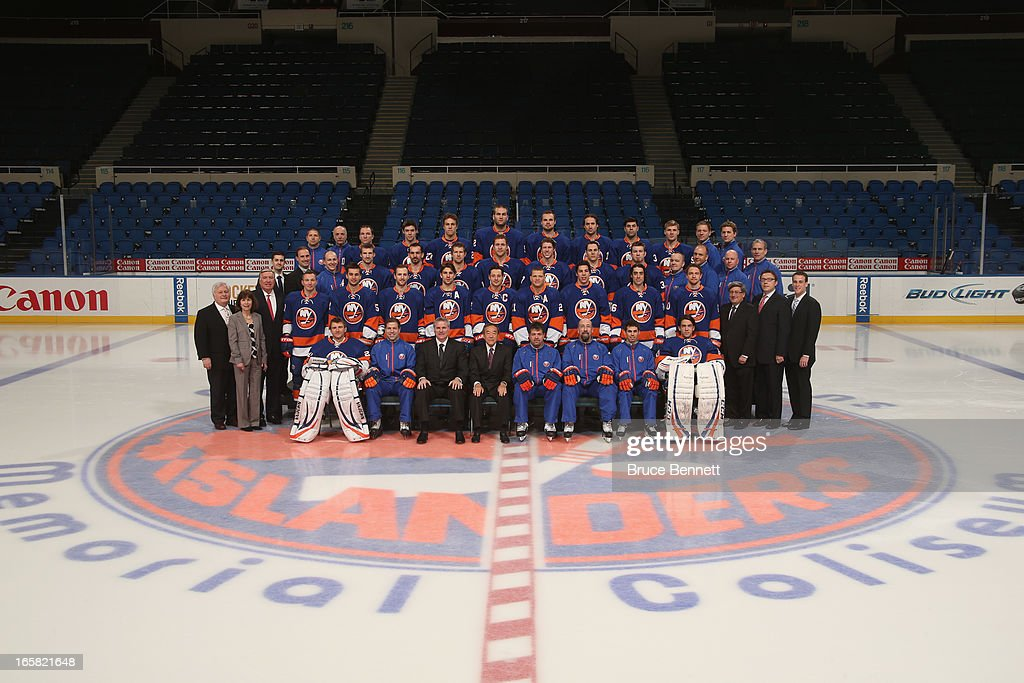 The New York Islanders pose for their 2013 team photo at the Nassau Veterans Memorial Coliseum on April 5, 2013 in Uniondale, New York.
