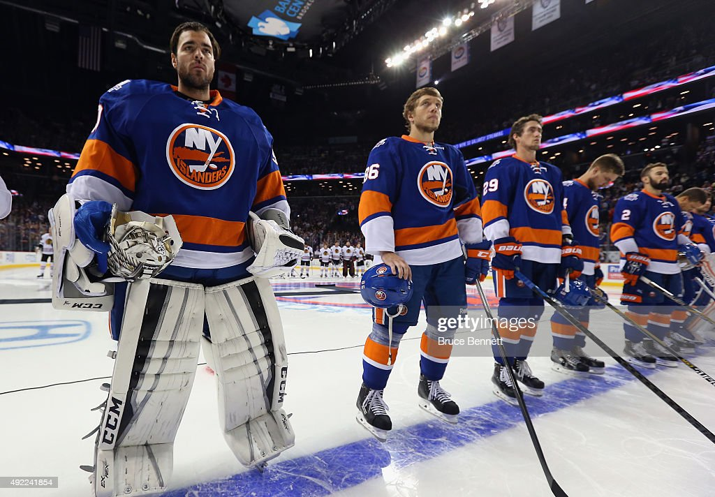 The New York Islanders prepare to play against the Chicago Blackhawks at the Barclays Center on October 9, 2015 in Brooklyn borough of New York City. The game is the first for the Islanders in their new arena. The Blackhawks defeated the Islanders 3-2 in overtime.