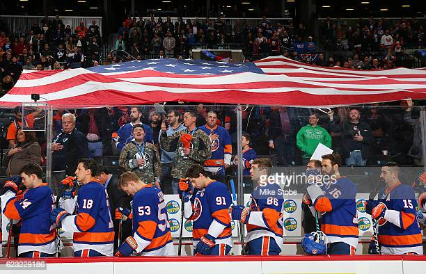 The New York Islanders stands during the National Anthem prior to the game against the Tampa Bay Lightning at the Barclays Center on November 14 2016...