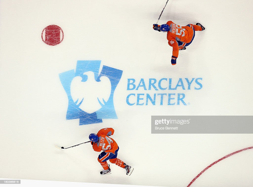 The New York Islanders take part in their first practice at the Barclays Center on September 12, 2013 in Brooklyn borough of New York City. The Islanders are due to move into the building at the start of the 2015-16 season.