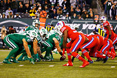 The New York Jets and the Buffalo Bills line up during their game at MetLife Stadium on November 12 2015 in East Rutherford New Jersey