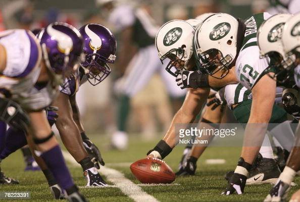 The New York Jets offense takes on the Minnesota Vikings defense at the line of scrimmage during their preseason game on August 17 2007 at Giants...