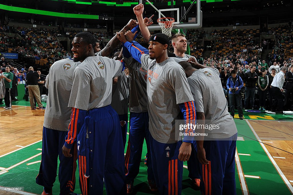 The New York Knicks before a game against the Boston Celtics on March 12, 2014 at the TD Garden in Boston, Massachusetts.