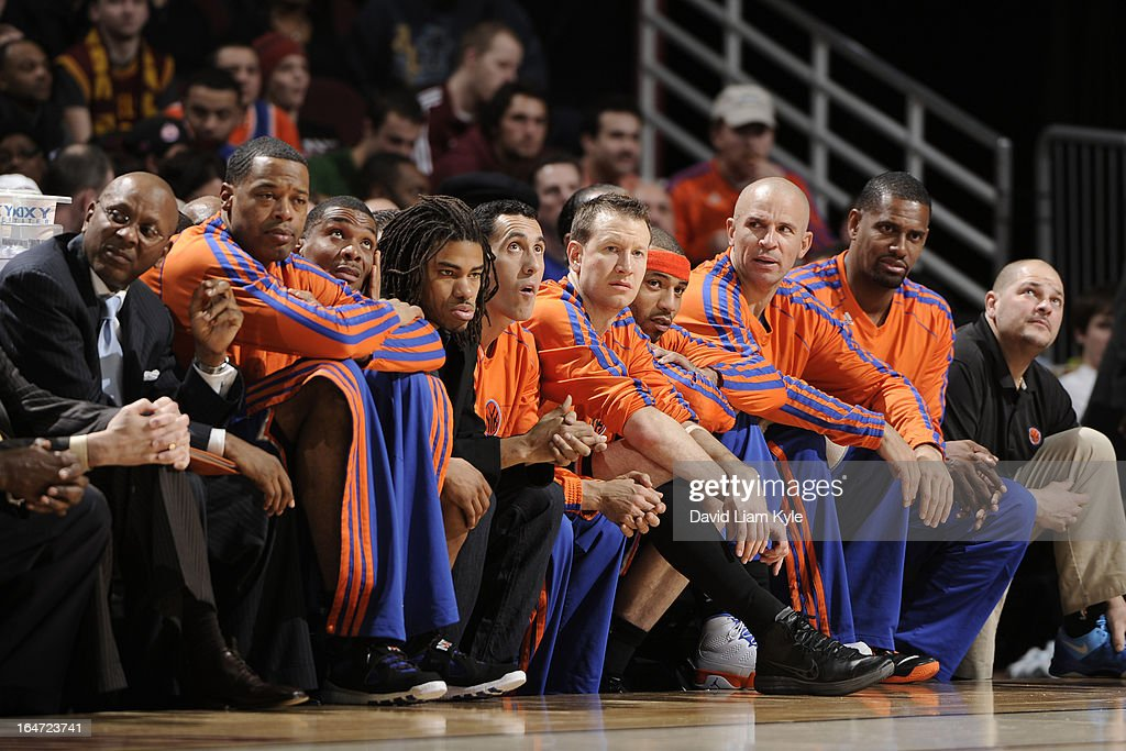 The New York Knicks bench looks on against the Cleveland Cavaliers at The Quicken Loans Arena on March 4, 2013 in Cleveland, Ohio.