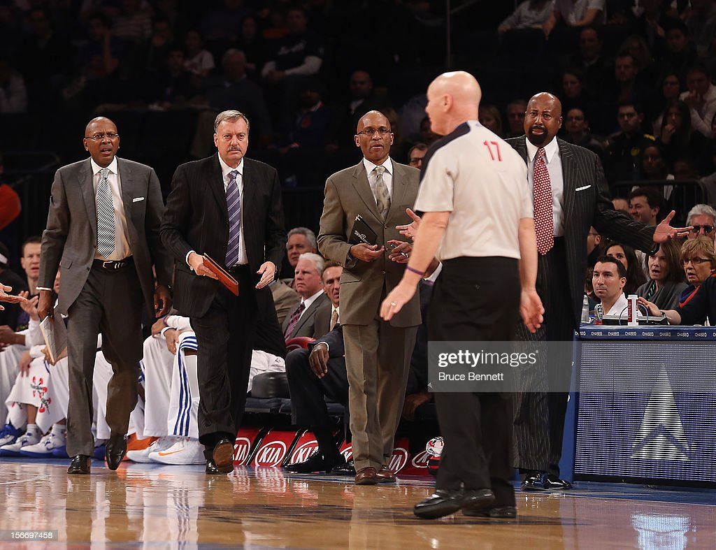 The New York Knicks coaches look to discuss a play with referee Rodney Mott #71 in the game against the Indiana Pacers at Madison Square Garden on November 18, 2012 in New York City.