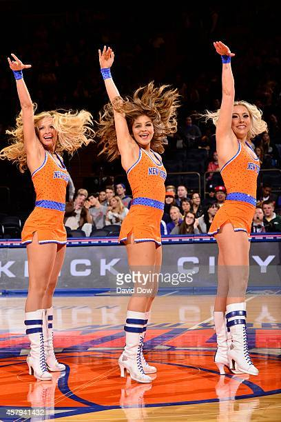 The New York Knicks dance team performs during open practice at Madison Square Garden on October 26 2014 in New York City New York NOTE TO USER User...