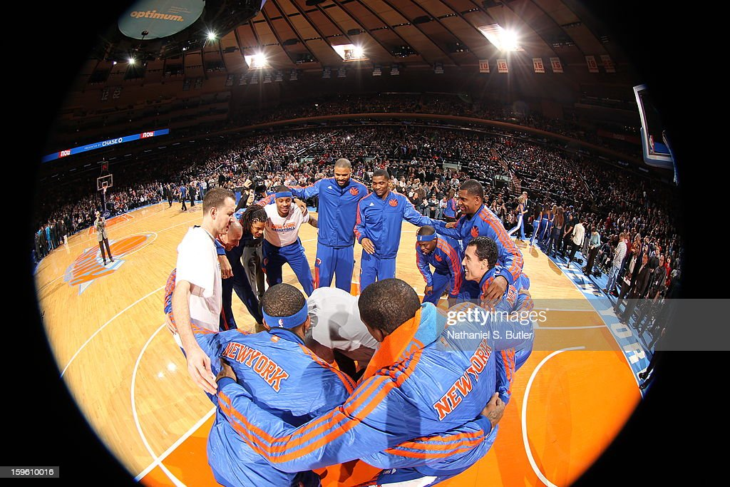The New York Knicks huddle against the New Olreans Hornets on January 13, 2013 at Madison Square Garden in New York City.