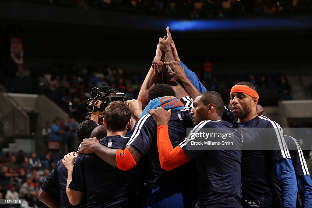 The New York Knicks huddle before the game against the Charlotte Bobcats at the Time Warner Cable Arena on November 8, 2013 in Charlotte, North Carolina.