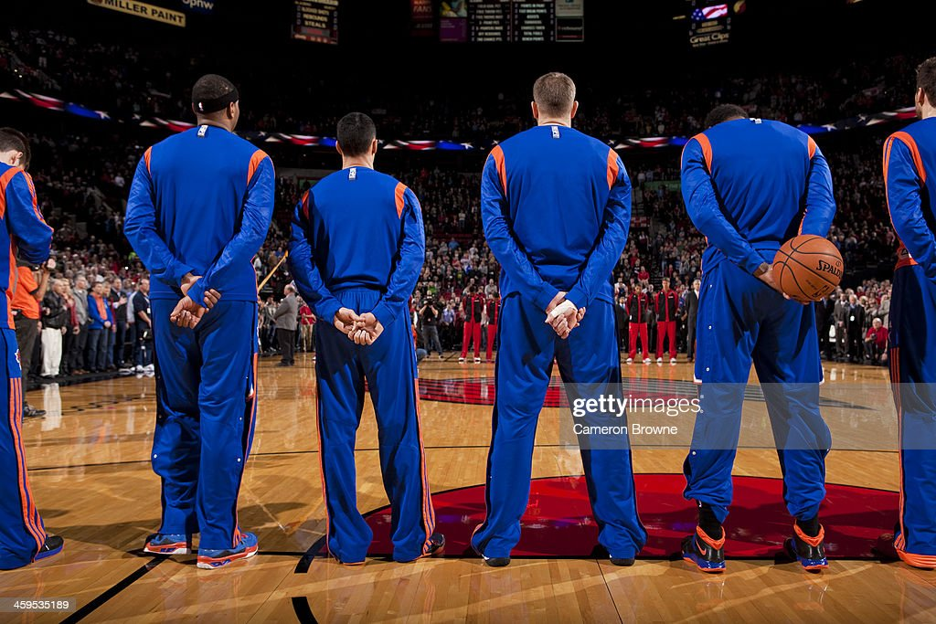 The New York Knicks line up before the game against the Portland Trail Blazers on November 25, 2013 at the Moda Center Arena in Portland, Oregon.