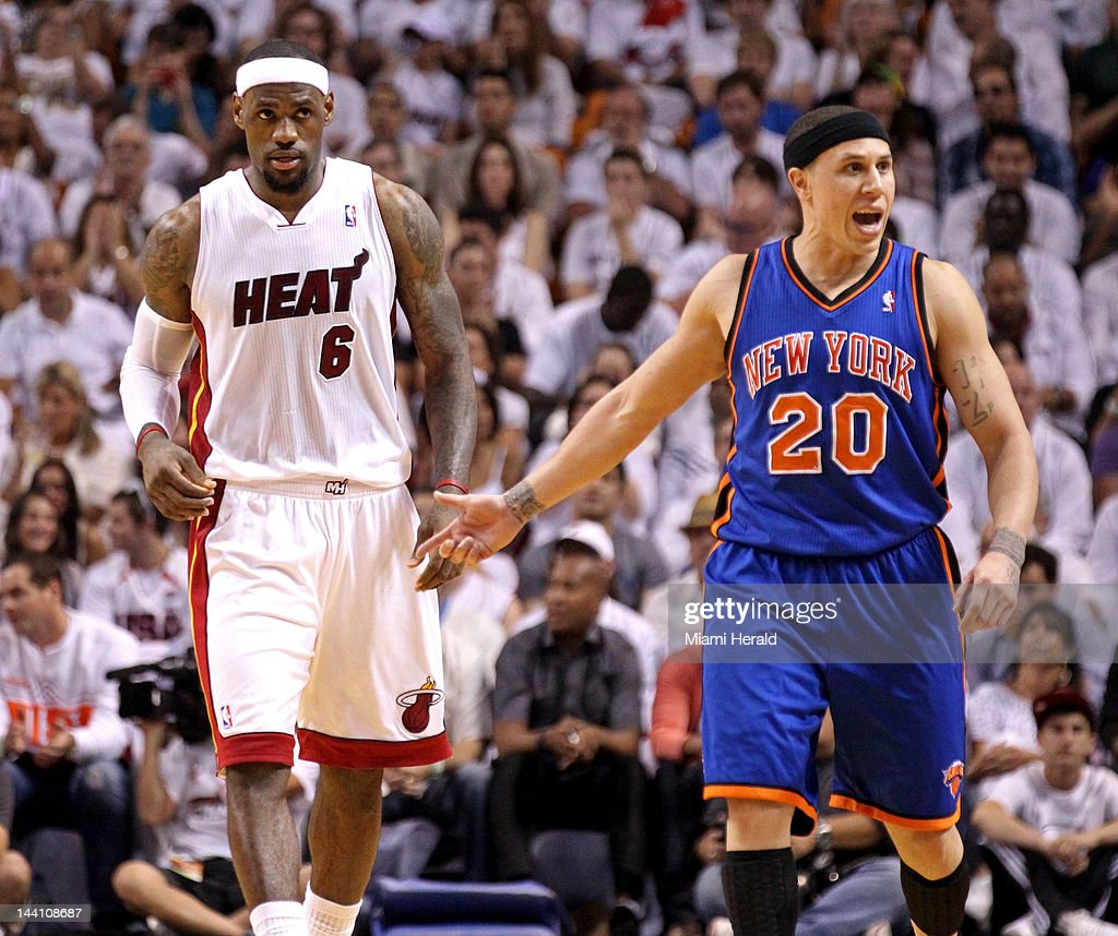 The New York Knicks Mike Bibby (20) protests to the officials in the second quarter against the Miami Heat in Game 5 of the Eastern Conference first-round series at American Airlines Arena in Miami, Florida, on Wednesday, May 9, 2012.