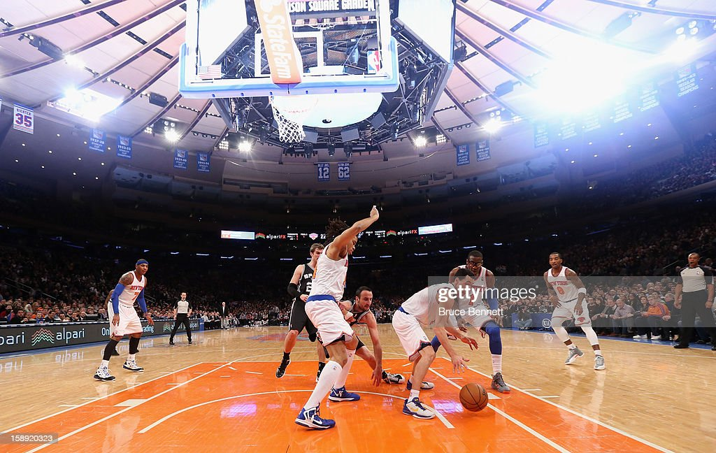The New York Knicks play against the San Antonio Spurs at Madison Square Garden on January 3, 2013 in New York City.