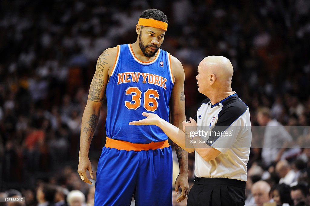 The New York Knicks' Rasheed Wallace questions official Joey Crawford during the game against the Miami Heat at American Airlines Arena in Miami, Florida, Thursday, December 6, 2012.