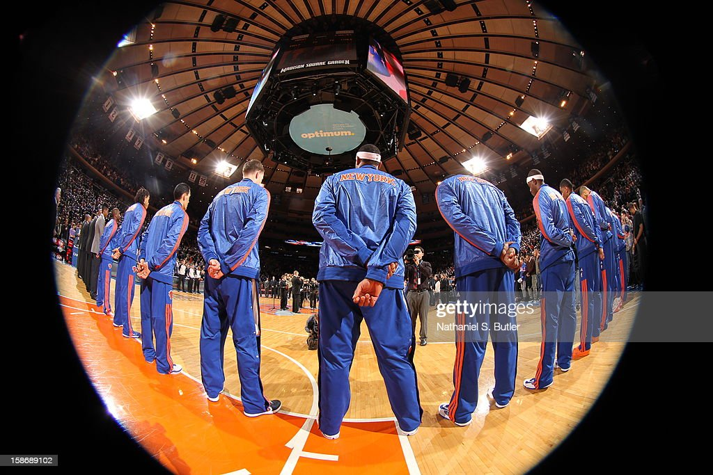 The New York Knicks stand during the national anthem before a game played against the Minnesota Timberwolves on December 23, 2012 at Madison Square Garden in New York City.