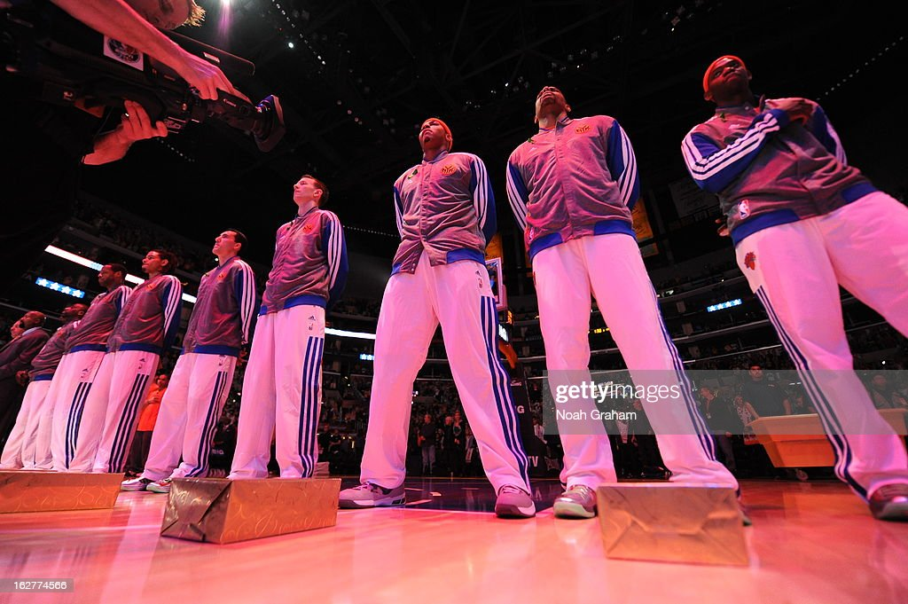 The New York Knicks stand on the court before the game against the Los Angeles Lakers at Staples Center on December 25, 2012 in Los Angeles, California.
