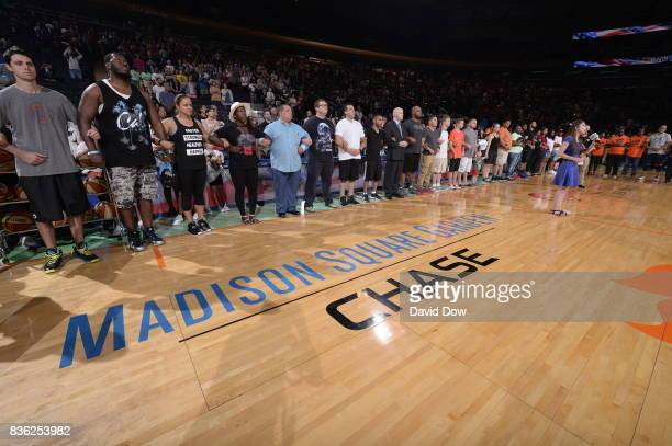 The New York Liberty host the 1stEver Unity Game at The Garden against the Minnesota Lynx during the WNBA game on August 20 2017 at the Madison...