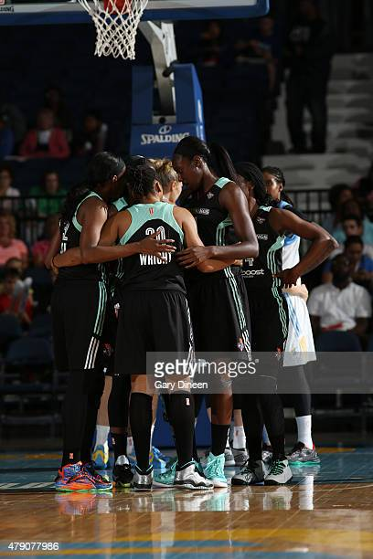 The New York Liberty huddle during the game against the Chicago Sky on June 30 2015 at Allstate Arena in Rosemont Illinois NOTE TO USER User...