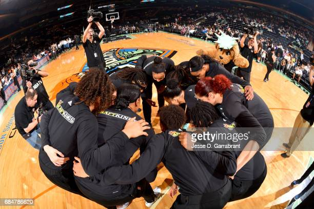 The New York Liberty huddle up before the game against the Minnesota Lynx on May 18 2017 at Madison Square Garden in New York City New York NOTE TO...