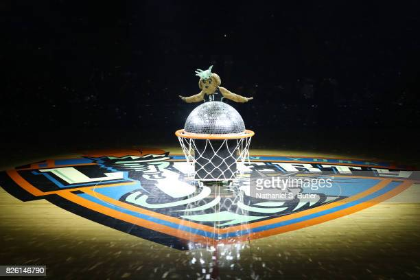 The New York Liberty mascot entertains the crowd before the game against the Washington Mystics on July 16 2017 at Madison Square Garden in New York...