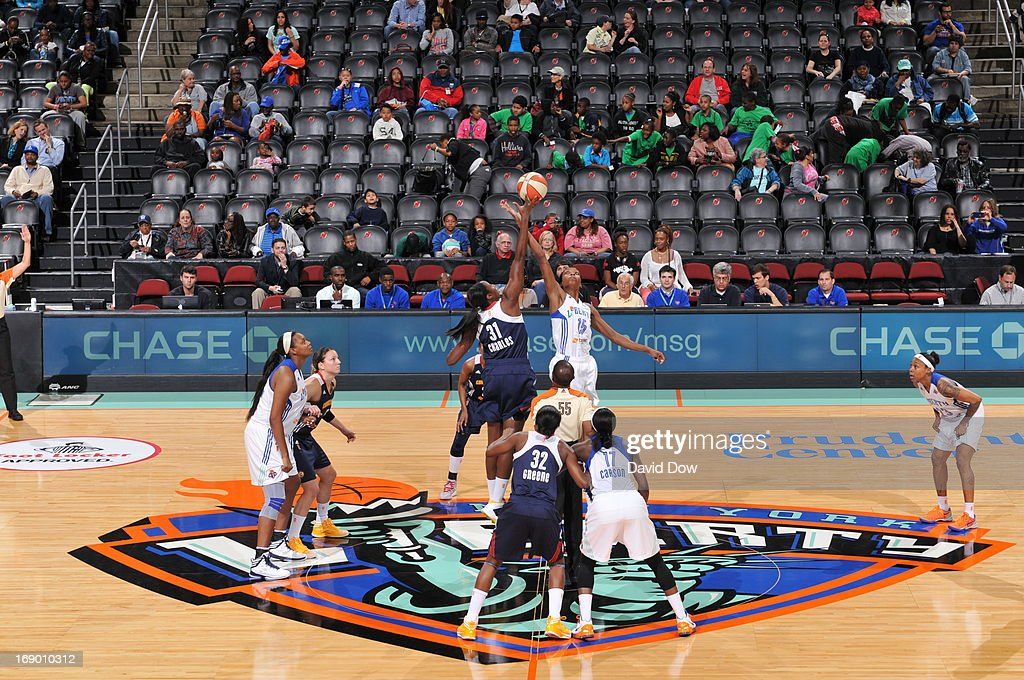 The New York Liberty tip off against the Connecticut Sun during the WNBA game on May 18, 2013 at the Prudential Center in Newark, New Jersey.