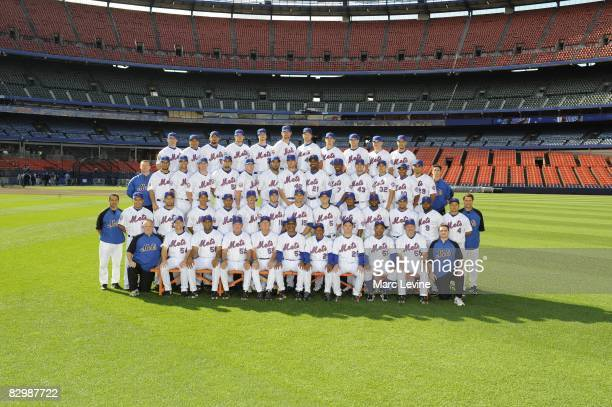 The New York Mets pose for a team photo on September 10 2008 at Shea Stadium in Flushing New York
