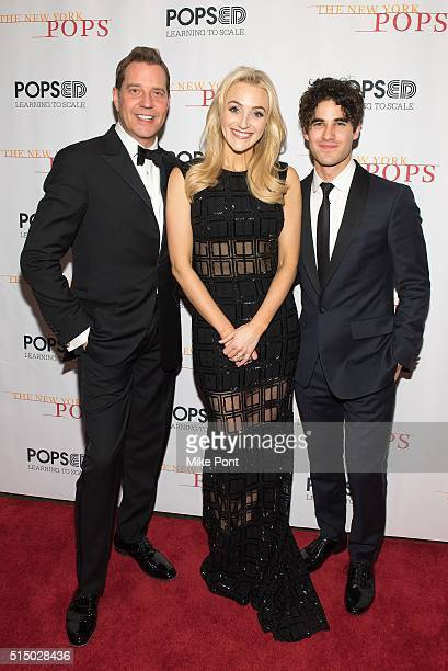 The New York Pops Music Director Steven Reineke and actors Betsy Wolfe and Darren Criss attend The New York Pops Darren Criss and Betsy Wolfe in...