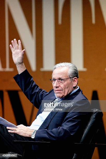 The New York Post Associate Editor and Moderator Bob Woodward speak onstage during 'Why Can't Tech Save Politics' at the Vanity Fair New...