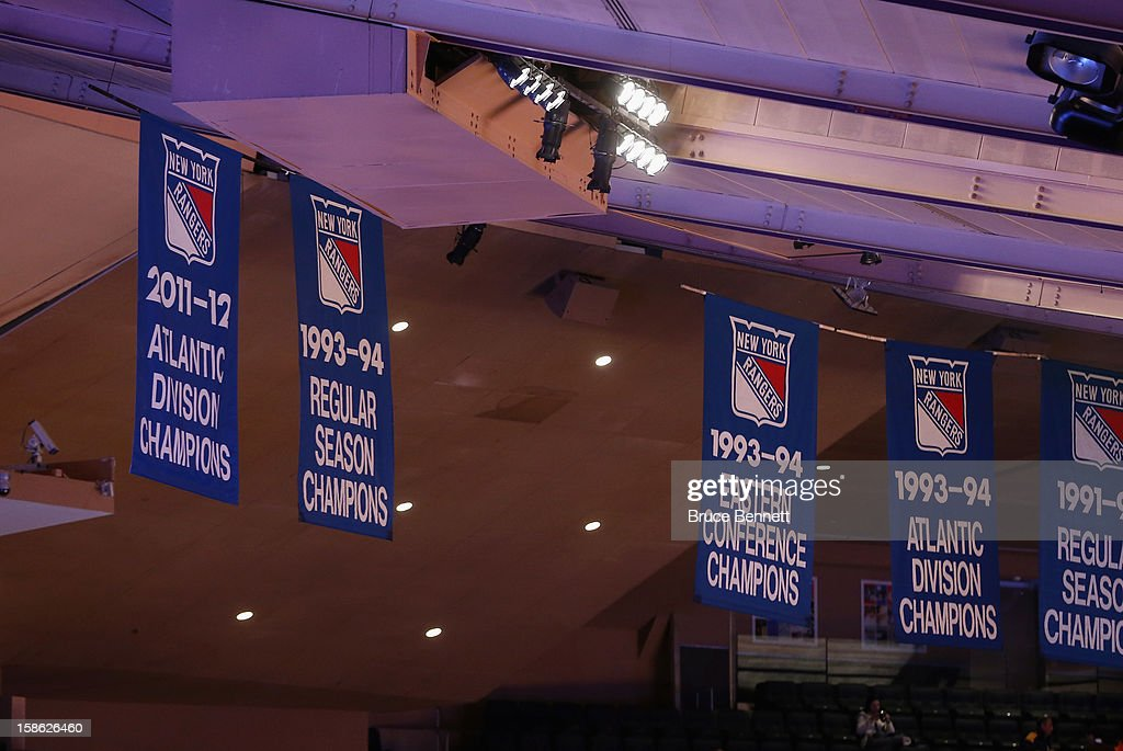 The New York Rangers 2011-12 Atlantic Division Championship banner as photographed prior to a game between the Chicago Bulls and the New York Knicks at Madison Square Garden on December 21, 2012 in New York City.