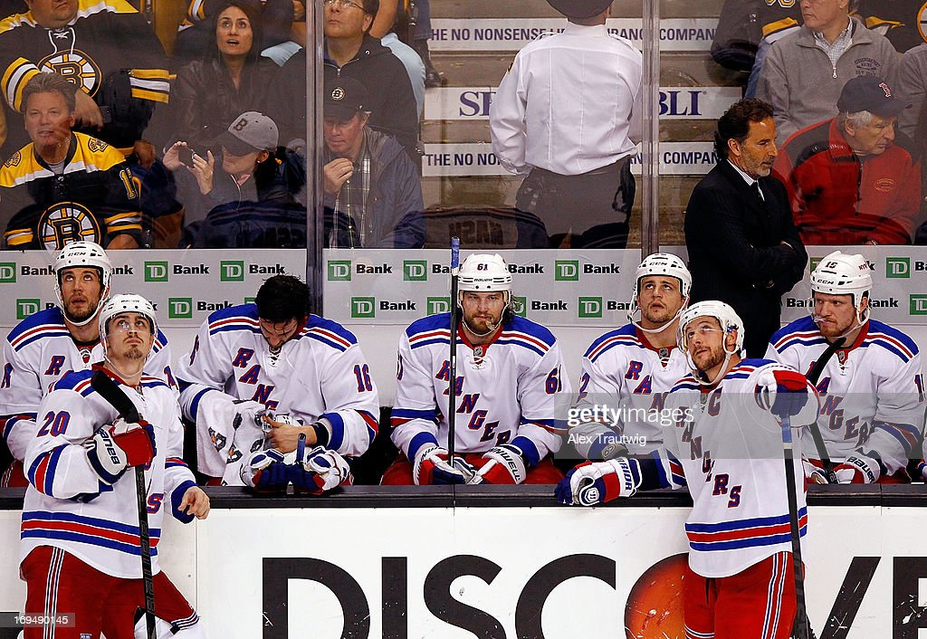 The New York Rangers bench looks on during the third period against the Boston Bruins in Game Five of the Eastern Conference Semifinals of the 2013 NHL Stanley Cup Playoffs on May 25, 2013 at TD Garden in Boston, Massachusetts.