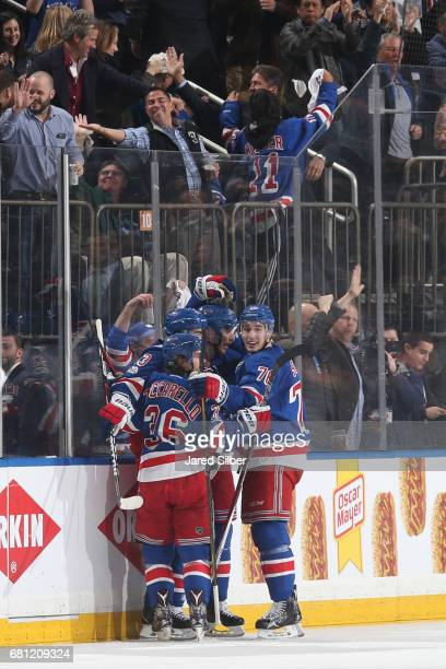 The New York Rangers celebrate a goal by Mika Zibanejad in the second period against the Ottawa Senators in Game Six of the Eastern Conference Second...