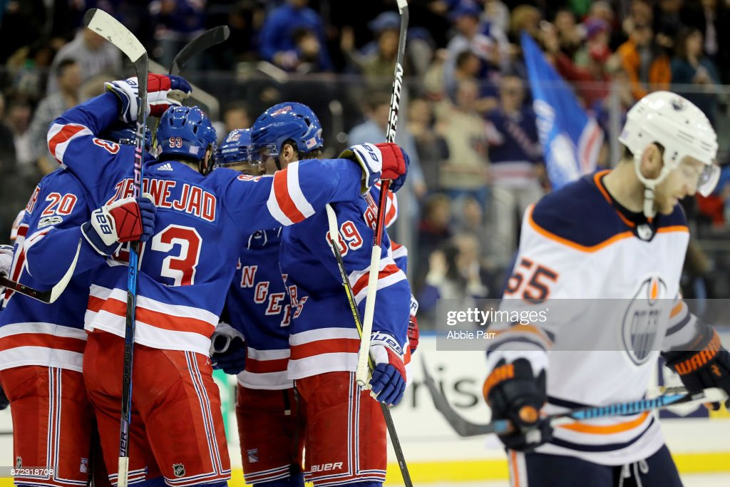 The New York Rangers celebrate a goal by Pavel Buchnevich #89 in the second period against the Edmonton Oilers during their game at Madison Square Garden on November 11, 2017 in New York City.