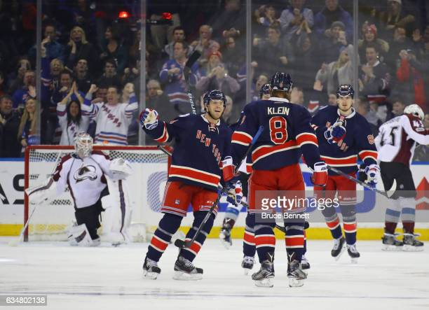 The New York Rangers celebrate a third period goal by Kevin Klein against Calvin Pickard of the Colorado Avalanche at Madison Square Garden on...
