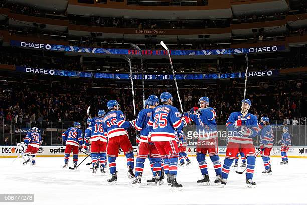 The New York Rangers celebrate after a 63 win over the Buffalo Sabres at Madison Square Garden on January 25 2016 in New York City