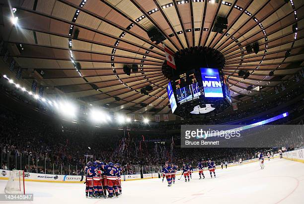 The New York Rangers celebrate their 2 to 1 won over the Ottawa Senators in Game Seven of the Eastern Conference Quarterfinals during the 2012 NHL...