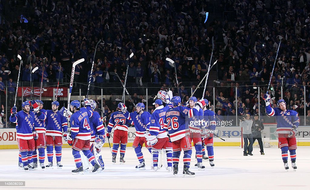 The New York Rangers celebrate their 3 to 1 win over the Washington Capitals in Game One of the Eastern Conference Semifinals during the 2012 NHL Stanley Cup Playoffs at Madison Square Garden on April 28, 2012 in New York City.