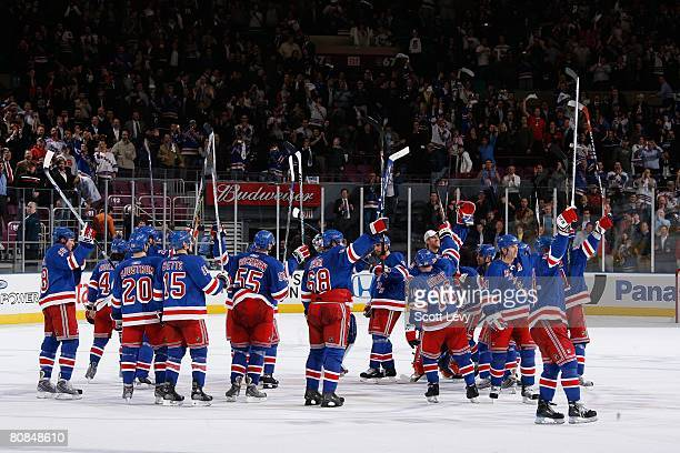 The New York Rangers celebrate their win over the New Jersey Devils during game four of the Eastern Conference Quarterfinals of the 2008 NHL Stanley...