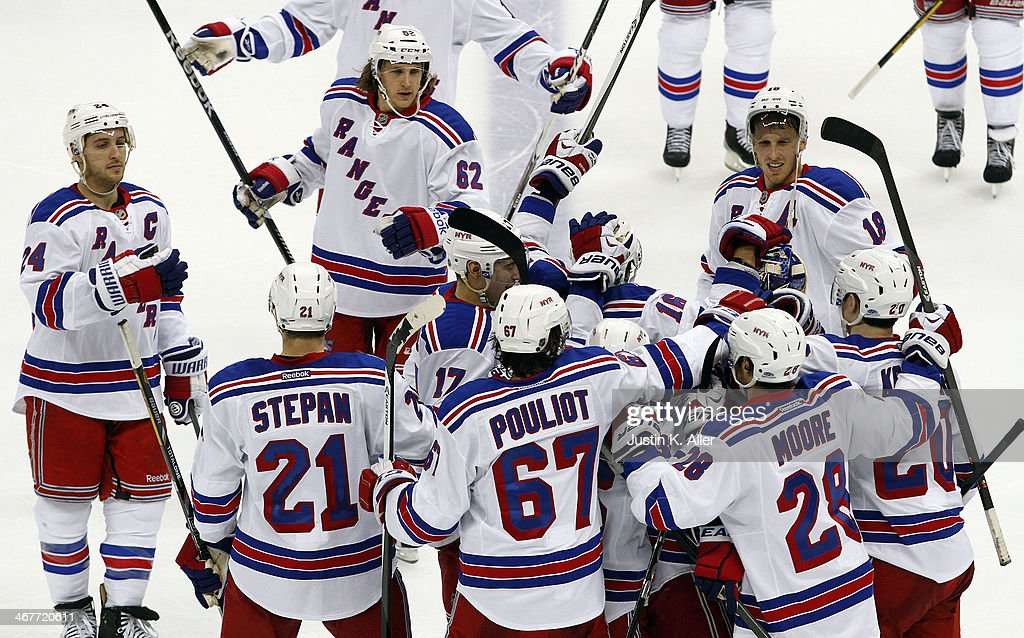 The New York Rangers celebrates after defeating the Pittsburgh Penguins in a shootout at Consol Energy Center on February 7, 2014 in Pittsburgh, Pennsylvania.