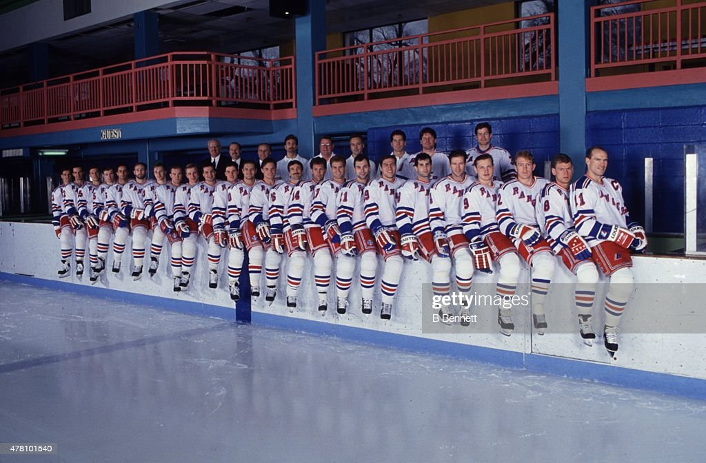 The New York Rangers pose for a team photo on April 1, 1994 at Rye Playland in Rye, New York.