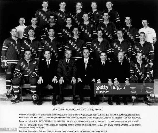 The New York Rangers pose for the team photo circa 1966 at the Madison Square Garden in New York New York Bottom row Harry Howell John Muckler...