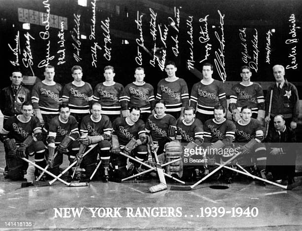 The New York Rangers pose for the team portrait circa 1939 at the Madison Square Garden in New York New York Top row Head coach Frank Boucher Lynn...