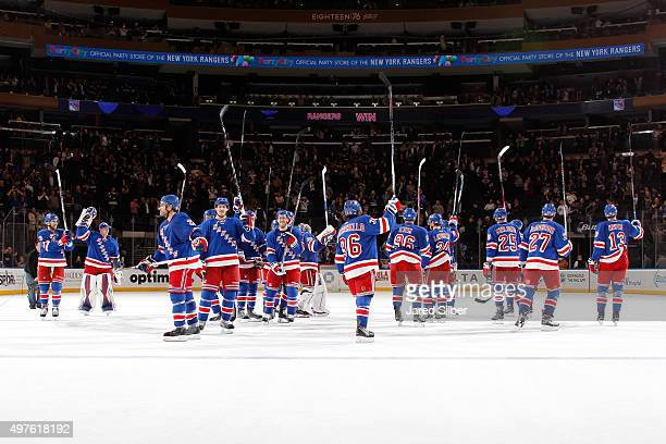 The New York Rangers salute the crowd after defeating the St Louis Blues 63 at Madison Square Garden on November 12 2015 in New York City The New...