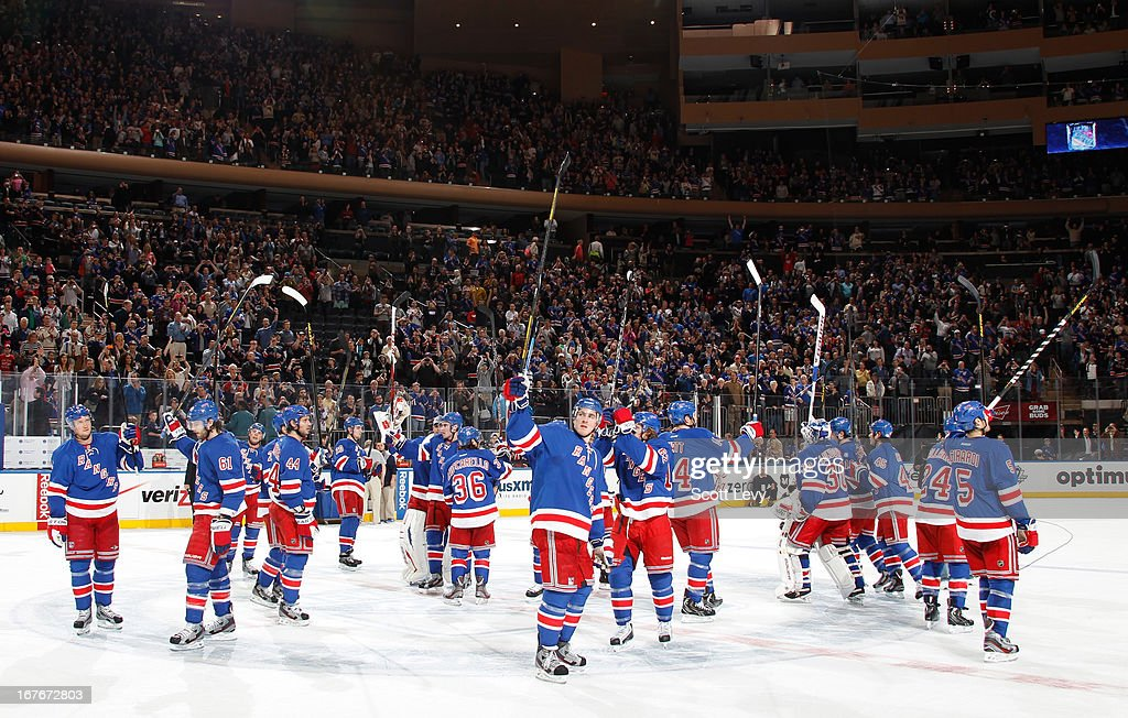 The New York Rangers salute the fans in the last regular season game of the season against the New Jersey Devils at Madison Square Garden on April 27, 2013 in New York City. The Rangers defeat the Devils 4-0.