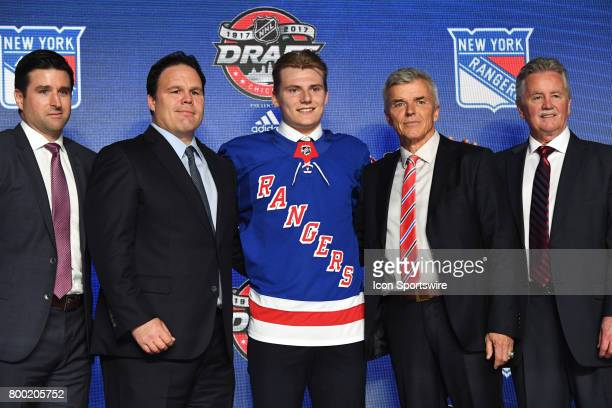 The New York Rangers select center Lias Andersson with the 7th pick in the first round of the 2017 NHL Draft on June 23 at the United Center in...