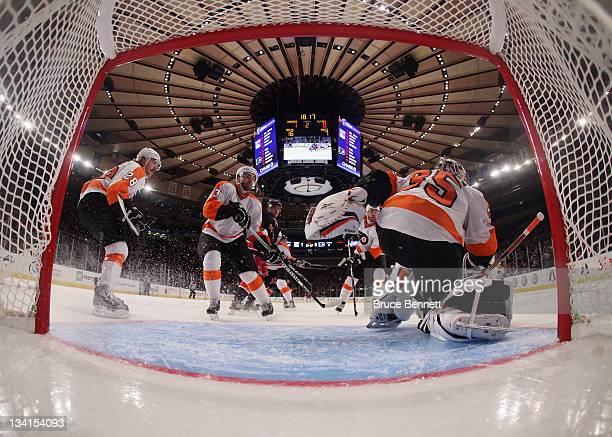 The New York Rangers skate against the Philadelphia Flyers at Madison Square Garden on November 26 2011 in New York City The Rangers shutout the...