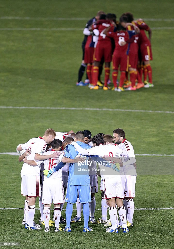 The New York Red Bulls and Real Salt Lake huddle up before FC Tucson Desert Diamond Cup at Kino Sports Complex on February 13, 2013 in Tucson, Arizona.