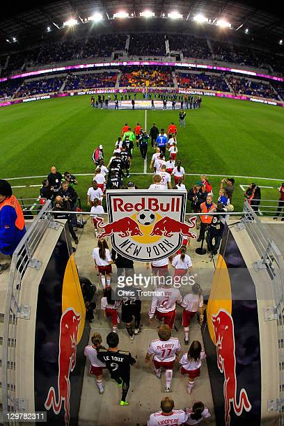 The New York Red Bulls enter the field before the game against the Philadelphia Union at Red Bull Arena on October 20 2011 in Harrison New Jersey