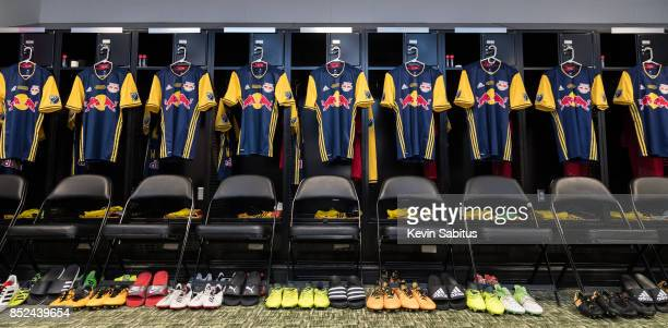 The New York Red Bulls locker room is arranged prior to the US Open Cup Final match against Sporting Kansas City at Children's Mercy Park on...