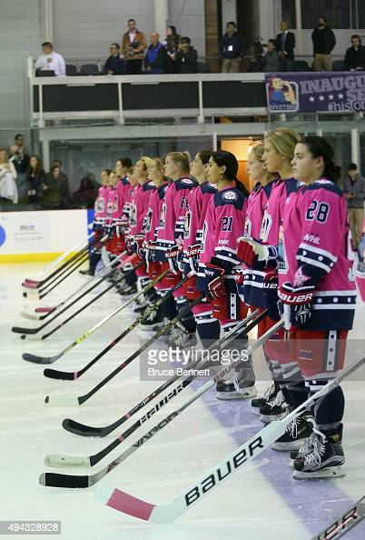 The New York Riveters of the National Womens Hockey League prepare to play against the Connecticut Whale at the Aviator Sports and Event Center on...
