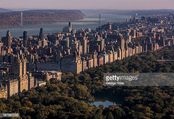 The New York skyline looking north from the 'Top of Rock' building at Rockefeller Center is viewed on October 21 2013 in New York City With a full...