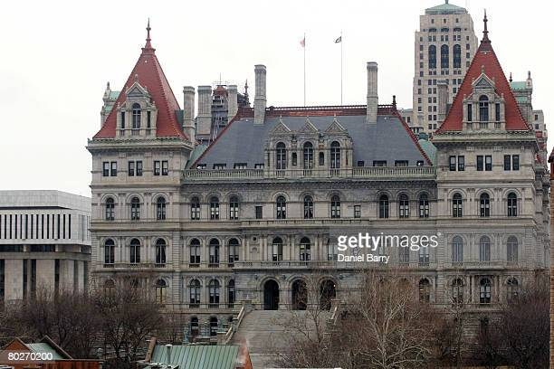 The New York State Capitol building is seen March 16 2008 in Albany New York New York State Lt Gov David Paterson will be sworn in here on March 17...