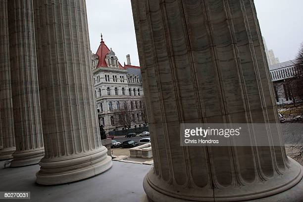 The New York State Capitol is seen from the nearby State Education Building March 16 2008 in Albany New York Lt Gov David Paterson will be sworn in...